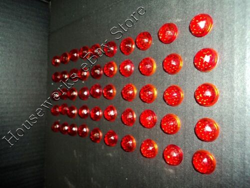 Antique (50) RARE RED Glass * CATS EYE * (REFLECTOR Light JEWELS) NOS Faceted
