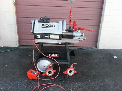 Ridgid 1224 Pipe Threader Rigid Conduit Vgc 12 To 4 Has 3 Dies And Cart