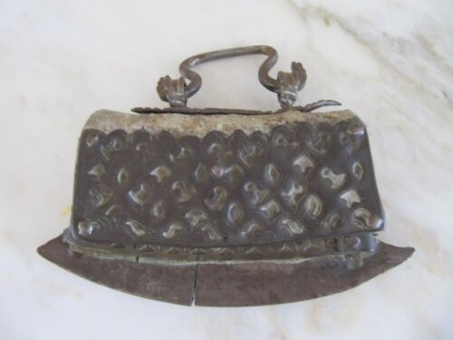 ANTIQUE  MONGOLIAN IRON & LEATHER FLINT PURSE