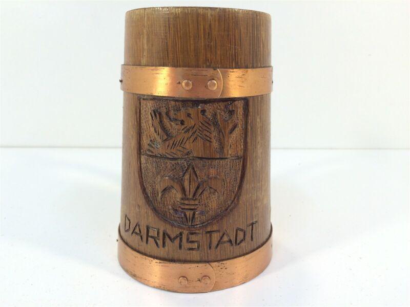 "Vintage Darmstadt Wooden Beer Stein Mug 6"" Tall"