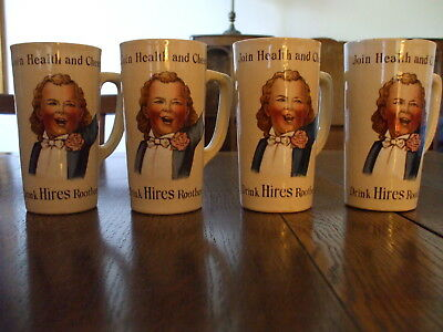 1904 ANTIQUE HIRES ROOT BEER POTTERY MUG METTLACH VILLEROY & BOCH- Set of 4