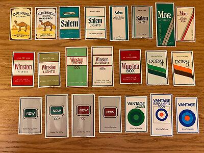Vintage Advertising Tobacco Cigarettes Stickers 1980's Winston Camel Salem Lot