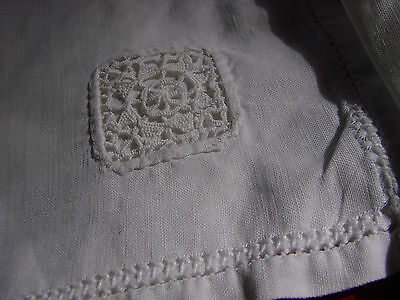 """Vintage Napkins Linen Lace inset VGC LOT 4  Luncheon 12"""""""