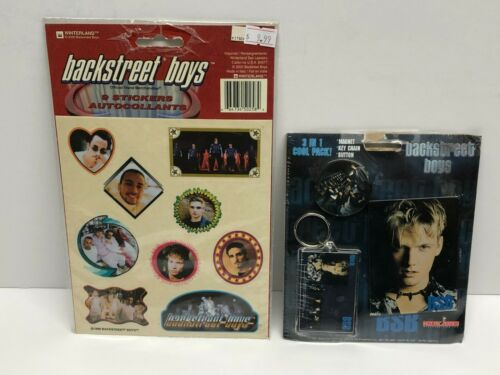 Backstreet Boys 3 in 1 pack with Collectors Magnet, Key Chain, Button + Stickers