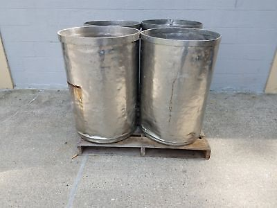 Used Open Top Stainless Steel Drums 4 Pack Lot Number 6
