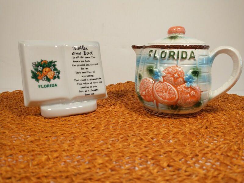 Vintage Florida Souvenir Vase And Creamer Picture