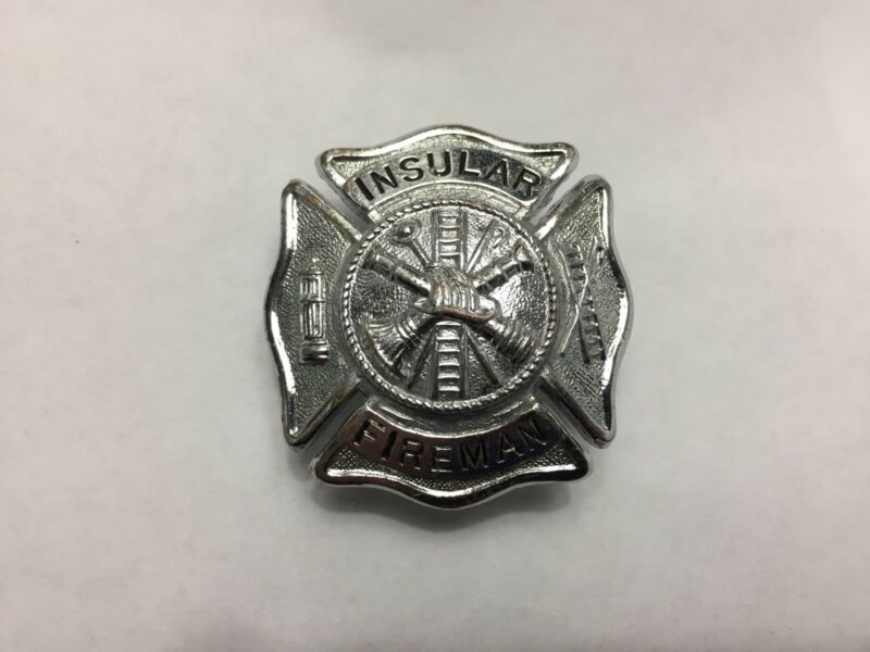 ANTIQUE PUERTO RICO FIRE DEPARTMENT INSULAR BADGE.1898 to 1942. Great Cond.