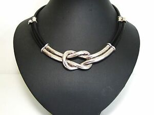 STuNNing ChunKy SilVer KnoT BlacK LeaTher CoRd NecKlace
