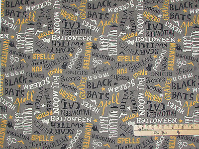 Come Sit a Spell Graveyard Gray Words Halloween Fabric by the 1/2 Yard  #84397 - Halloween Spelling Words