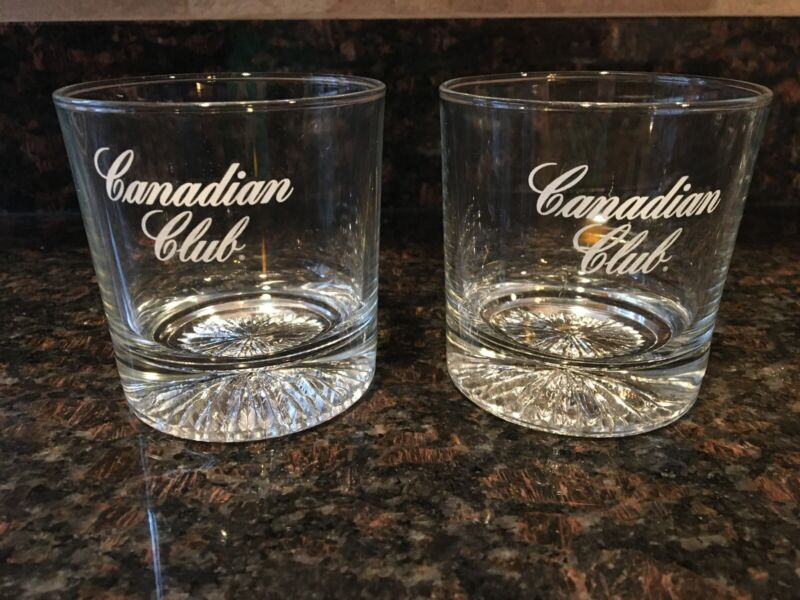 Set of 2 Jack Canadian Club Whiskey Tumbler Lowball on the Rocks Glasses Nice