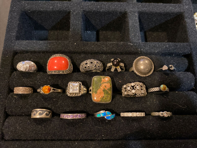 Vintage Sterling Silver LOT OF 17 Rings