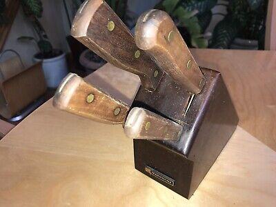 5 Piece Knife Set Tramontina Wood Block Chef Slicer Utility Parer Knives Brazil 5 Piece Utility Set