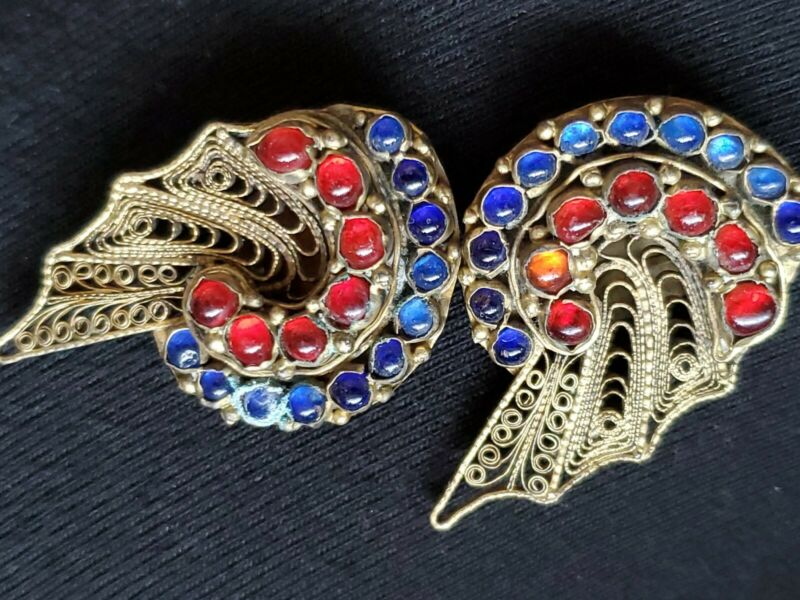 Antique Filigree Blue Red Glass Clippon Earrings