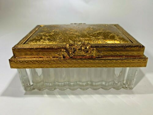 Vintage Gold Tone and Ribbed Glass Trinket Dresser Box