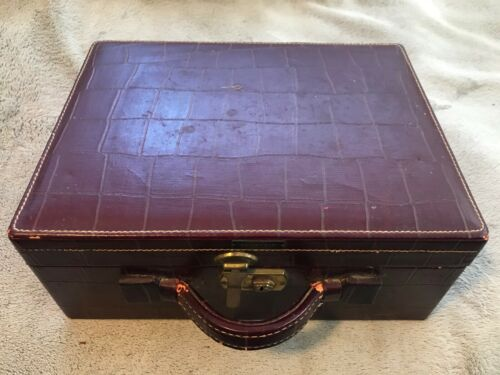 SHORTRIP vintage faux alligator 1940s train travel makeup case WITH KEY / TAG!!