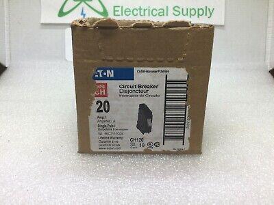 Cutler Hammer Ch120 Single Pole 120v 20 Amp Plug-on Circuit Breaker Plastic Foot