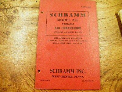 Schramm 315 Air Compressor Portable Gas And Diesel Parts List