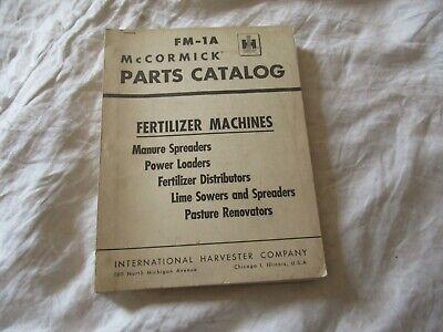International Harvester Manure Spreader Fertilizer Power Loader Parts Catalog