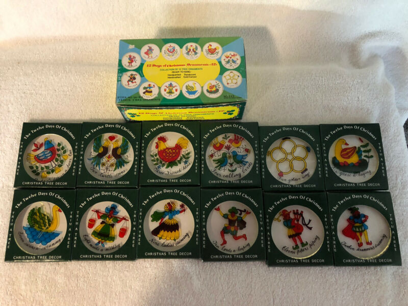 Vintage 12 Days of Christmas Ornaments, #222, made in Hong Kong