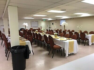 Banquet Chairs Flex Back Brown Frame Brownish Fabric Good Condition