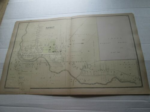 """1-1880 ANTIQUE MAP, """"AKRON, TOWN OF NEWSTEAD"""", ERIE COUNTY ATLAS, NY,  F W BEERS"""