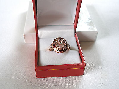2.84 Ct. Kunzite Solitaire, Rhodolite Garnet & Diamond  10K Rose Gold (Kunzite Rhodolite Ring)