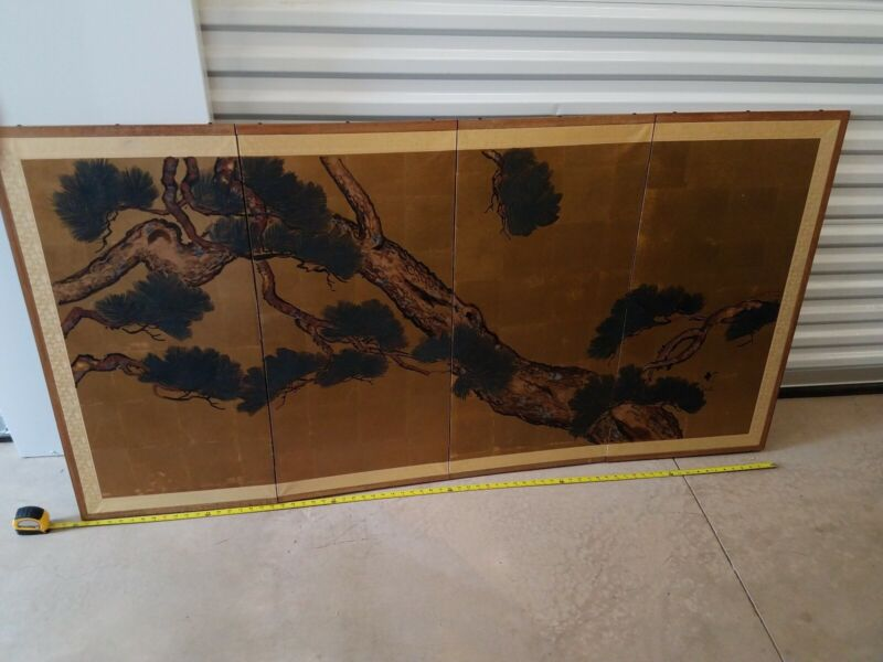 Vintage mid-century Japanese Silk Screen 4 Panel Hand Painted FREE SHIPPING