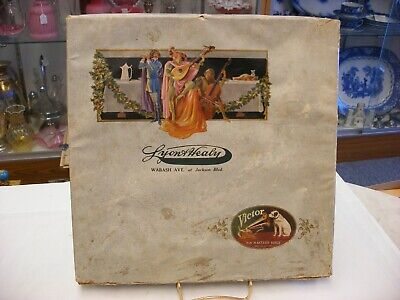 Phonograph Advertising Victor Lyon & Healy Chicago Christmas Record Box As-is