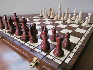 Brand New Large  Hand Crafted  Wooden Chess Set Tournament 1 42.5cm x 42.5cm