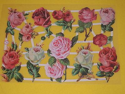 1x Poesiebilder Oblaten ROSEN 362 nostalgie rose roses Blumen Glanzbilder