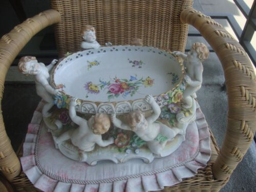 Antique Germany Centerpiece   Porcelain Nude Vase
