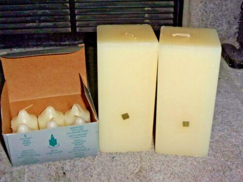 "PartyLite Lot 2-Spice Vanilla 6"" x 3"" Square Pillar, 1-Box Vanilla Votives V0611"