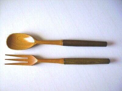 Couvert à salade en bois précieux laqués, Neuf Lg 27 cm Poids: 57,50Gr Mode de
