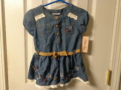 LITTLE LASS COW GIRL  DRESS BLUE JEAN  LACE EDGING  RED FLOWERS   3T  NEW - Little Girl Cowgirl Dresses