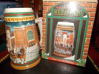 1997 Anheuser-Busch Budweiser Holiday Stein Home for the Holidays NIB