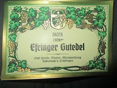 alte Wein Etiketten / Weinflaschen Etikett 10 Stück Efringer Gutedel Baden 1939