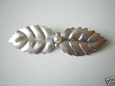 Antike 835 Silber Blattbrosche mit echter Perle Silber Schmuck Brosche #282
