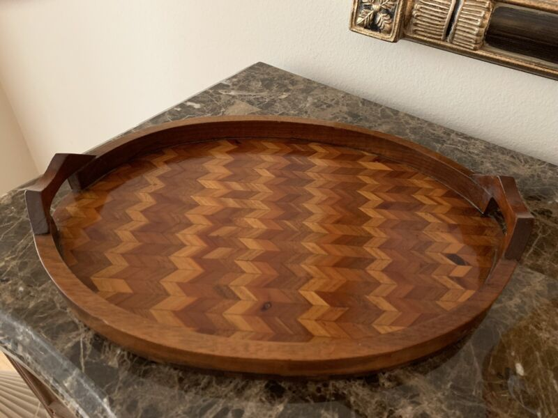 Antique Inlaid Wood Butler Tray Oval W/ Patent #  1930