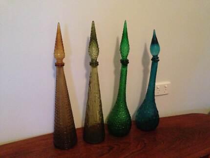 Vintage Retro Blue Green Art Glass Wax Drip Hobnail Genie Bottles