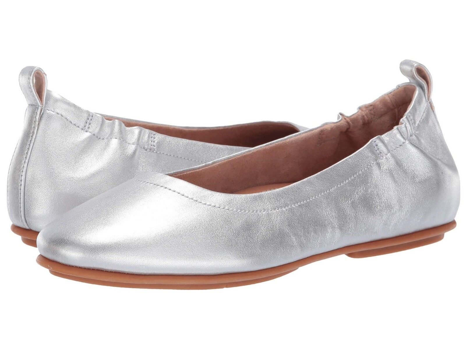 Women's Shoes Fitflop ALLEGRO Closed Toe Leather Ballet Flats Q74-011 SILVER