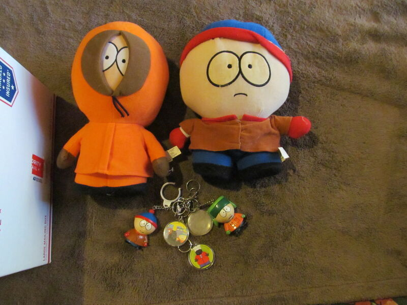 "Fabulous Vintage South Park Toy Lot - 2 11"" Plush Figures & More - Must See!!!!"