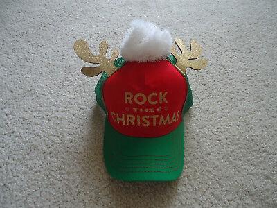 Rock This Christmas Holiday Red Green Cap Hat - Reindeer Antlers & Pom Pom - Reindeer Antler Hat