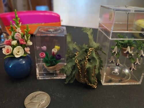 Dollhouse Miniature Lot of 4 Flowers and Plants Unique Vintage Tulips Fern Roses