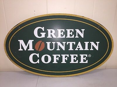 """Green Mountain Coffee"" Double Sided Sign 24""x14"" Keurig Roasters K-Cup"