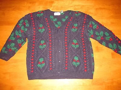 UGLY TACKY CHRISTMAS HOLLY CARDIGAN SWEATER SIZE 2x