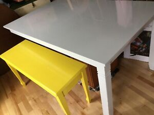 Large grey imperfect dining table- -