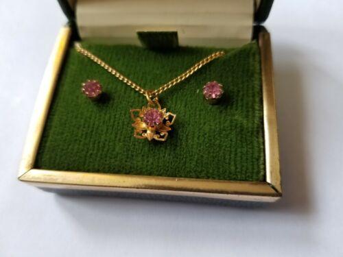 "Vintage October Rose Zircon 15.5"" Necklace & Stud Earrings Set ~ Original Box"