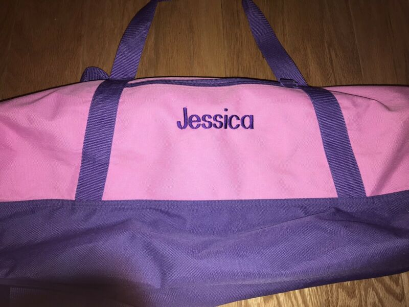Lillian Vernon personalized girls duffel bag name JESSICA pink and purple XL