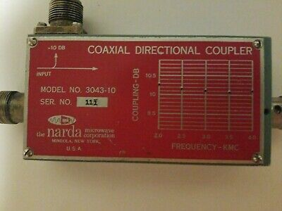 Narda 3043-10 Coaxial Directional Coupler 1.7-4.2ghz Microwave Type-nf -10db