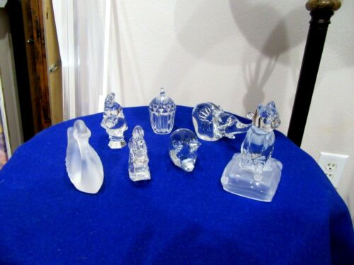 7 PC CRYSTAL Figurines  LOT Cat Rabbit Swan Chestnut Elephant(2) Pig